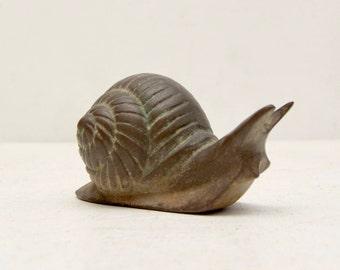 Vintage Mid Century Small Brass Snail; Nautilus Shell Cute Slug; Hollywood Regency Paperweight; FREE Shipping U.S.A.