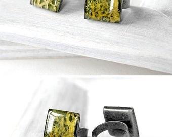 Birthday gift jewelry Terrarium gift Green jewelry Adjustable ring Woodland gift teen Resin ring women Moss jewelry Square ring Green ring
