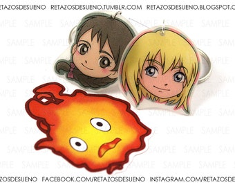Howl's Moving Castle SOPHIE & HOWL keychains + 1 sticker CALCIFER