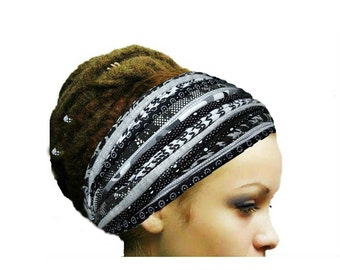 Dreadlock Accessories Black White Gray Headband Head Scarf Fashion Headbands Patchwork Boho Gypsy Headband Yoga Boho Hippie  Headwear