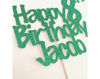Custom Happy Birthday Cake topper, kids birthday cake topper, boy birthday party cake, name cake toppers-  1 cake topper