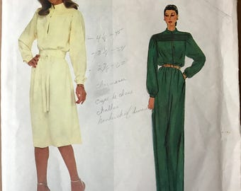 Vogue 2352 - 1980s Paris Original Blouson Bodice Dress with Stand Up Collar, Deep Keyhole Slit, and Bodice Tucks - Size 12 Bust 34