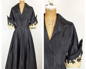 SALE Vintage 1950s Dress / 50s Black Taffeta Dress with Dramatic Sleeves / Medium