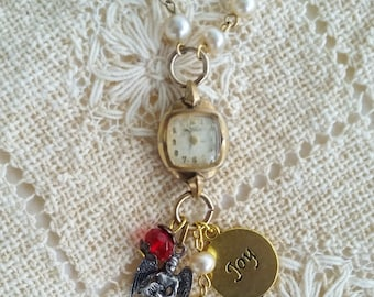 Holiday Watch Necklace, Vintage Ladies Watch Charm Necklace, Upcycled Watch Jewelry, Angel Charm, Christmas Jewelry, Beaded Chain, Joy Charm