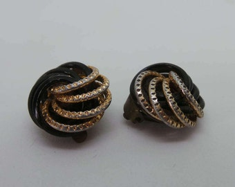 Vintage earrings - black and gold  swirl clip ons