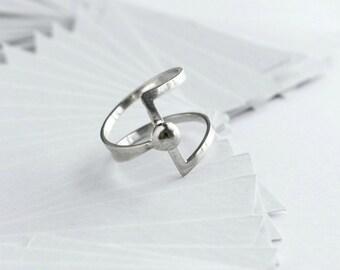 Unique Silver Ring- Minimalist Ring- Geometric Ring- Asymmetric Ring- Unique Ring- Double Bar Ring- Unusual Jewelry- Rare jewelry- Nice Gift