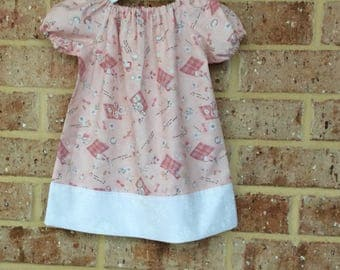 Peasant dress 6-12 mths, 12-18 months,  peasant dress with short sleeves, peasant dress, dress, girls,  dress, toddler dress, baby dress