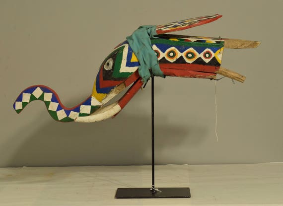 African Bozo Elephant Colorful Puppet Moveable Ears Mali Handmade Blue Red Green Paint Festival Celebrate Elephant Puppet
