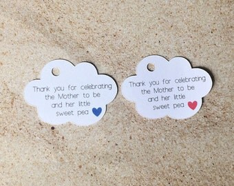 Cloud Baby Shower Thank You Tags, Thank You For Showering the Mom to Be Tags, Cloud Tags, Baby Shower Tags