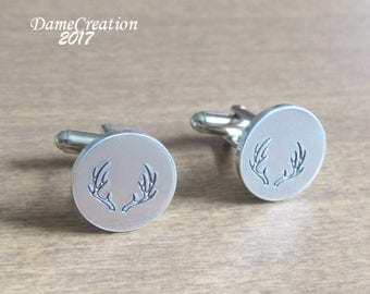 Custom Cuff Links Antler, Groomsmen Cufflinks Engraved, Cuff Links Hunting Gifts, Aluminum Anniversary Gift for Men