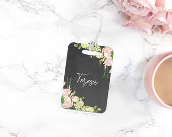 Floral Luggage Tag, Personalized Luggage Tag, Custom Luggage Tag, Diaper Bag Tag, Cute Luggage Tag, Pretty Bag Tag, Travel Accessories