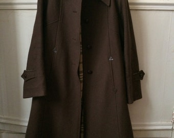British brown coat in wool - Small Plaid lining