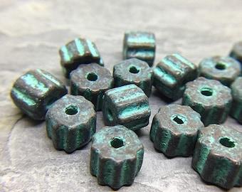 Ceramic Ridged Tube Beads with Green Patina Finish, Ridged Tube Mykonos Beads, Greek Ceramic Beads, 6x9mm - 10 beads (MYK-07)