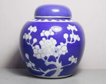 Vintage Chinese Blue and White Ginger Jar with Prunus Design, Porcelain Jar, Chinese Hawthorn, Chinoiserie Vase, Blue Chinoiserie Decor