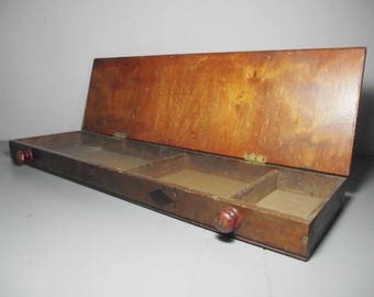 """24.75"""" Vintage Wooden Draughtsman Box/Long Wooden Box/Wood Box with Lid/Primitive Wood Box/Wooden Decoration/Rustic Box/Wooden Storage Box"""