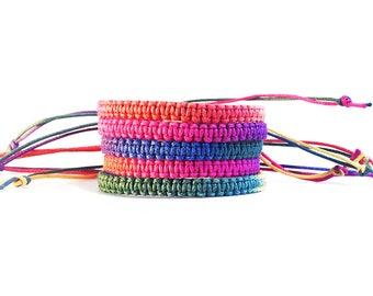 Rainbow Bracelet, LGBT Pride Bracelet, Festival Jewelry, Beach Bracelet, Ombre Bracelet, Macrame Bracelet, Cord Bracelet, Gay Pride Jewelry