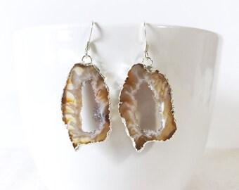 Silver Geode Earrings Silver Plated Geode Slice Earrings