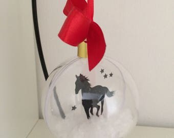 Horse Silhouette in the Snow  Pet Bauble