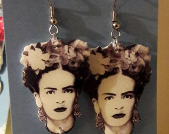 Handmade Frida Kahlo Earrings  -  Plastic Jewelry  -  Illustration Jewelry