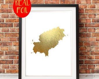 Ibiza Map - Gold Foil Art Gold Foil Print, Metallic foil art card backed foiled not printed rose, gold