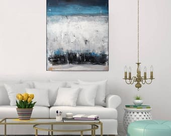 Contemporary Wall Art Large Modern Canvas Blue Abstract Painting, Blue Gray Acrylic Painting Original Abstract Vertical Painting,Christovart