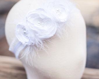 White Baby Girl Headband- Baby Headbands- Baptism Headband- Blessing Christening Headband- Flower Headband- Flower girl Headband- Gatsby