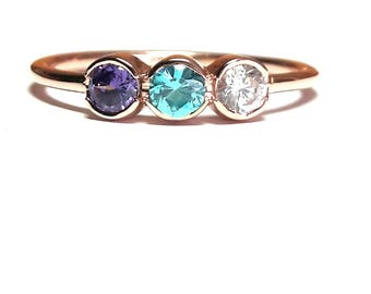 Birthstone Mothers Ring-Channel Birthstone Ring-Mothers Ring-Family Ring-925K Silver Zirconia Handmade Birthstone Ring