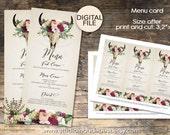 Boho  Wedding Menu, Wedding Menu Card Printable, Rustic Wedding Menu, Modern Wedding Menu, PRINTABLE