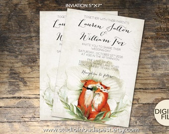 fox wedding invitation set woodland invitation fox theme invitation printable fox invitation - Paper For Wedding Invitations