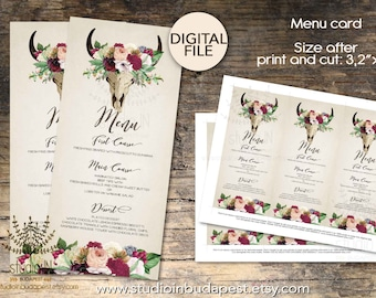 Boho  Wedding Menu, Wedding Menu Card Printable, Rustic Wedding Menu, Modern Wedding Menu, PRINTABLE