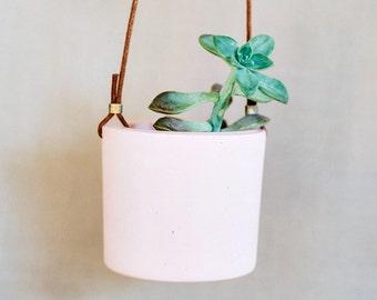 Mini cement hanging planter pink