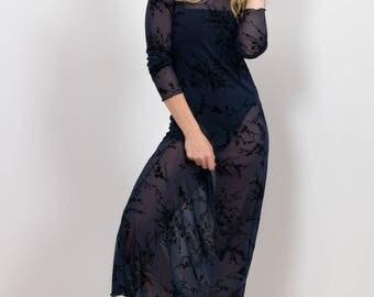 90s sheer Navy Mesh Maxi Dress / Black Oriental Floral Flocking Print