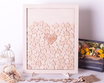 Wedding Guest Book Alternative Guestbook Drop Box Guest Book Personalized wedding guest book Wooden Hearts Guest Book Alternative Wedding