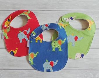 Retro Elephant Baby Bibs / Side Snap Bib / Drool Bib / Organic Cotton Fleece / Retro Baby / Gender Neutral / Modern Baby Bib / Elephants