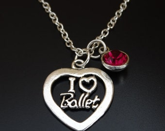 I Love Ballet Necklace, I Love Ballet Charm, I Love Ballet Pendant, Ballet Jewelry, Ballet Gift, Ballet Teacher, Ballerina Necklace