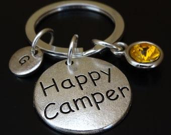 Happy Camper Keychain, Custom Keychain, Custom Key Ring, Happy Camper Charm, Camper Gifts, Camping Gift, Camp Life, Camping Keychain