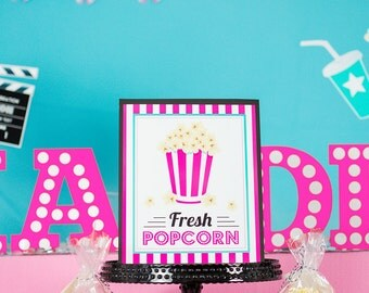 Printable Popcorn Sign - Movie Party Signs - Instant Download Pink Popcorn Sign for Movie Party by Printable Studio