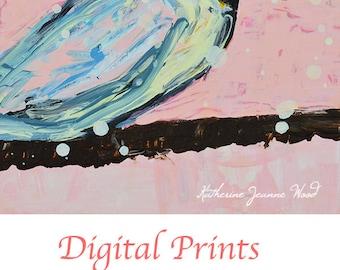 Chickadee Bird in a Snowstorm Painting Print. Cottage Chic Decor Digital Print. Shabby Apartment Decor. No 134
