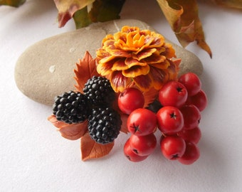 Brooch rowan blackberry marigold autumn brooch polymer clay jewelry gift for her autumn pin fall jewelry autumn jewelery rowan pin natural