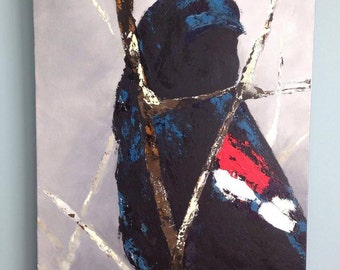"""Red-wing Blackbird acrylic pallet knife painting 24"""" x 36""""  A116"""