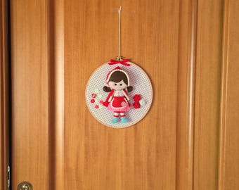 Little Red Riding Hood to hang on the wall, hand sewn, baby gift