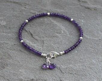 Purple Amethyst Bracelet, Amethyst Beaded Bracelet, Purple Gemstones, Purple Bracelet, Beaded Amethyst, Sterling Silver, February Birthstone