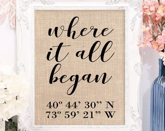 Where It All Began Print with GPS Coordinates, Personalized Anniversary Gifts for Husband Gifts, Personalized Anniversary Gifts for Him