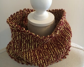 Knitted Snood For Women in Red and Yellow, Infinity Scarf, Handmade Circle Scarf, Loop Scarf, Winter Neck Warmer, Knitted Cowl, Tube Scarf