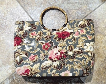 "Largest ""Sisters by Longaberger"" Majolica Garden Floral Cloth Tote/Handbag w Rattan Handles"