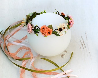 Woodland crown, Forest circlet, Fairy floral crown, Hair flower garland, Forest hair wreath, Summer wedding tiara, Fall crown Flower girl