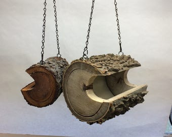 Bird Feeder - The Original Natural Log Seed Feeder - Large Bird Feeder Upcycled from fallen trees - Hackberry - Hand Made - Unique - OOAK