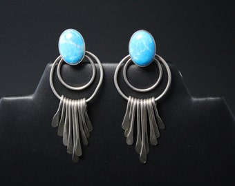 Sterling Silver Vintage Taxco Mexico Turquoise Clip On Dangle Fringe Earrings