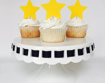 Star Cupcake Toppers - Yellow - Moon and Stars Party - Birthday Party - Baby Shower - Bridal Shower - Party - Decorations