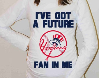 New York Yankees Shirt New York Yankees Baseball Long Sleeve Maternity Shirt Pregnancy Baby Shower